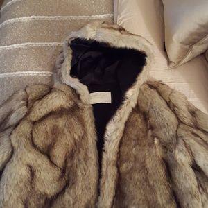 NWOT Zara faux fur hooded coat.
